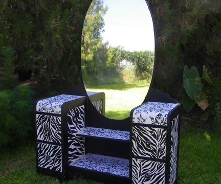 art deco dressing table, animal print, fuax finishes, repurposed furniture, zebra stripes