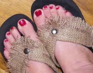 burlap flip flops from unusable yellowbox sandles.