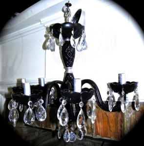 black painted glass chandelier