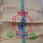 coffee bean burlap sack, roman shade from coffee bag