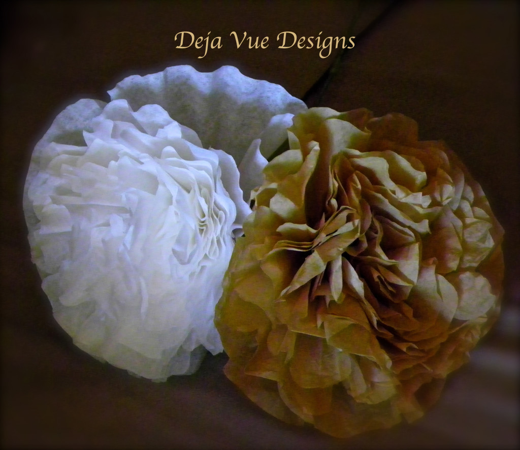 recycled treasures into coffee filter peonies