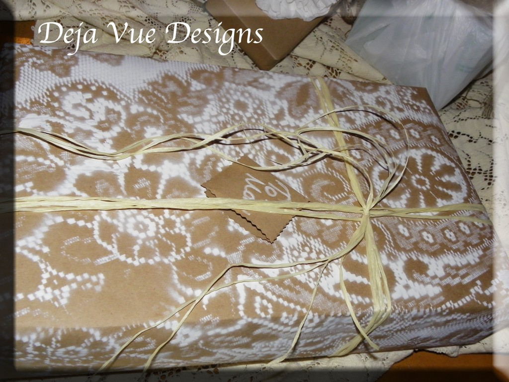 lace painted gift wrap