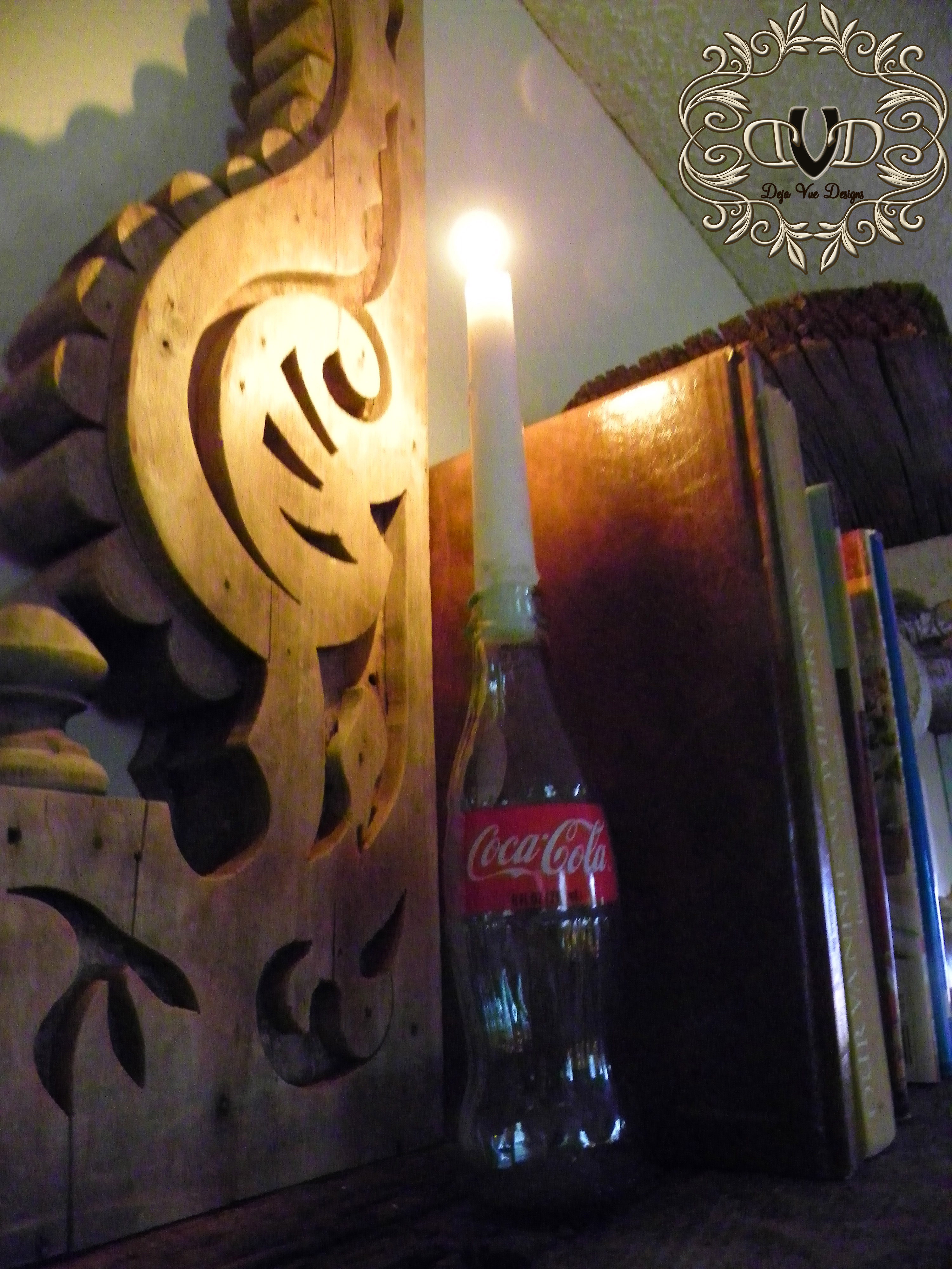 retro coke bottle for a candle holder