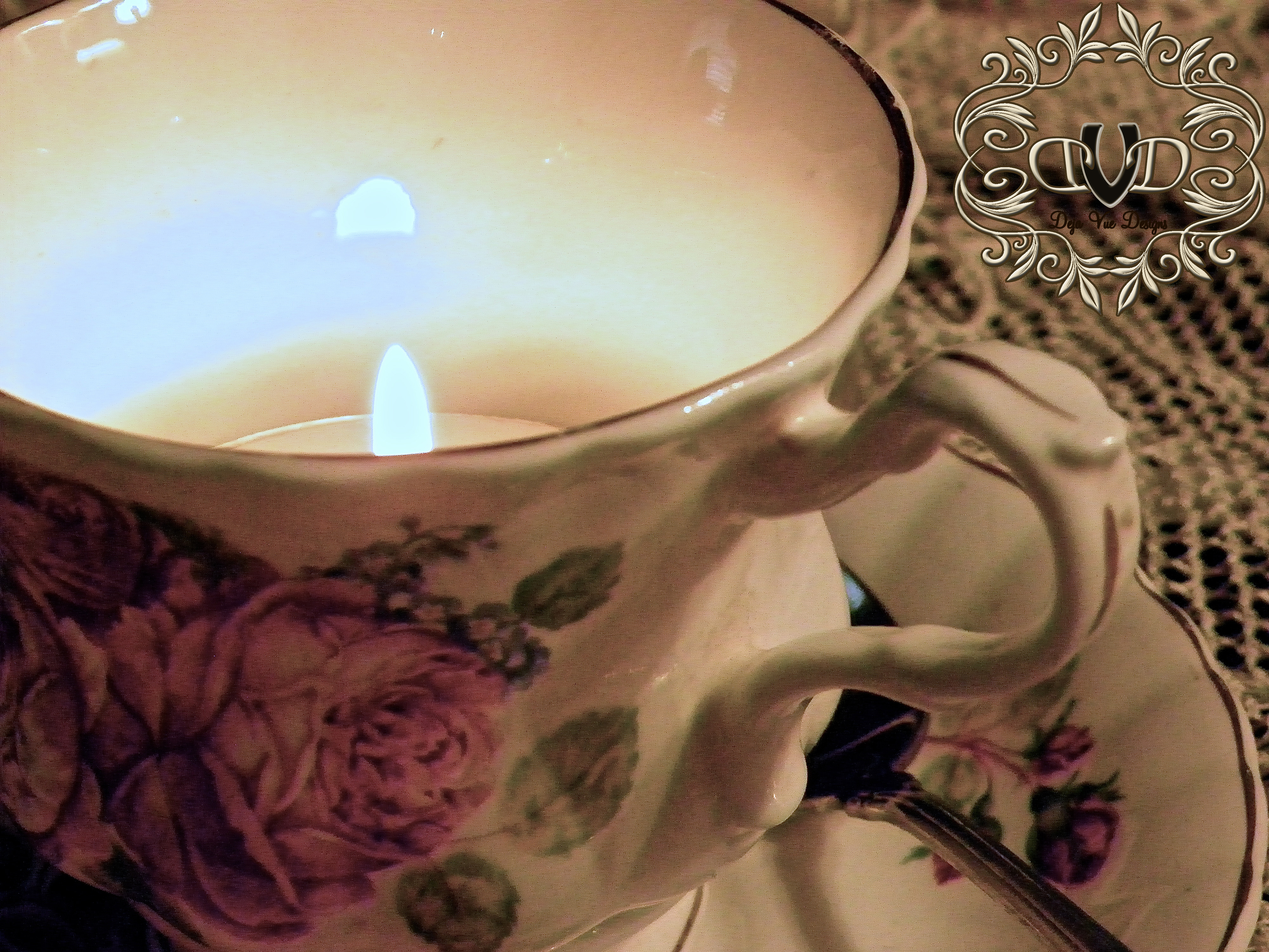 Antique tea cup with tea light New Year's Day Traditions