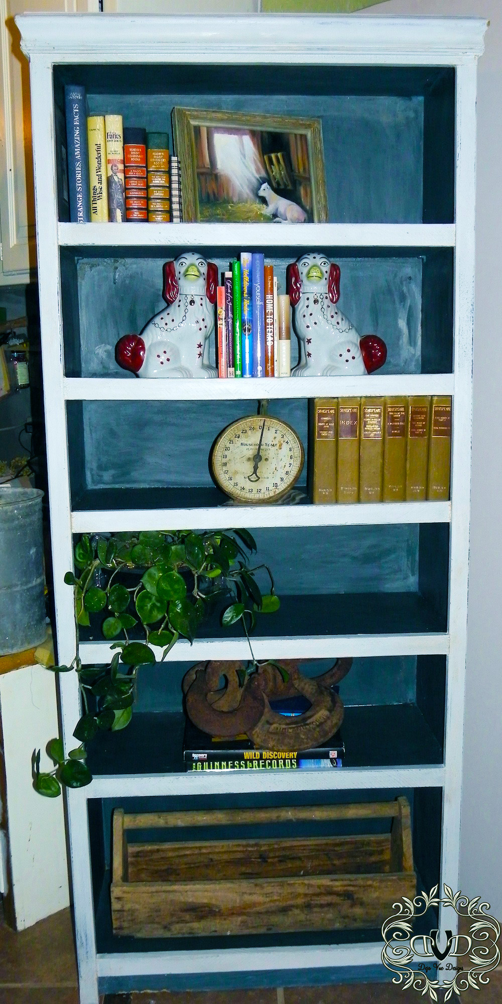 Goodwill bookcase with Milk Paint finish