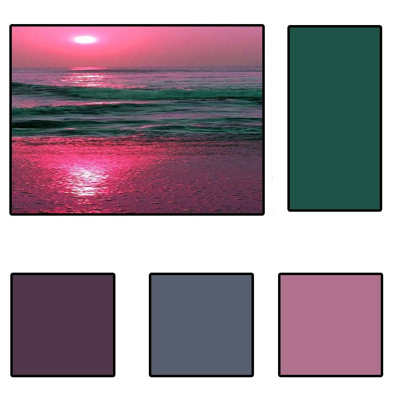 paint palette inspire by a beautiful sunset