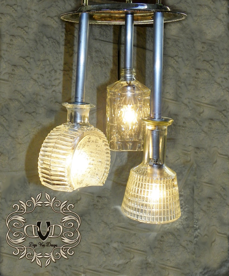 chandelier light from decantors