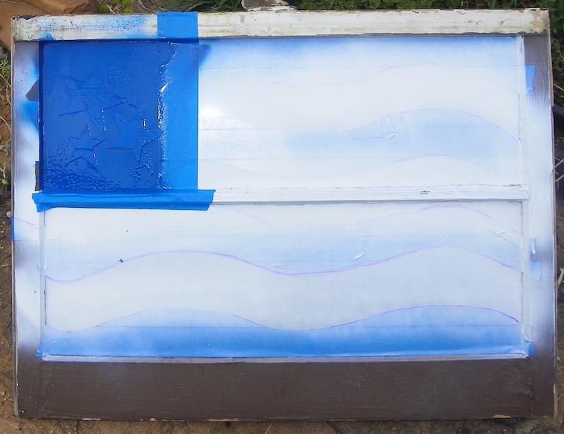 The blue paint