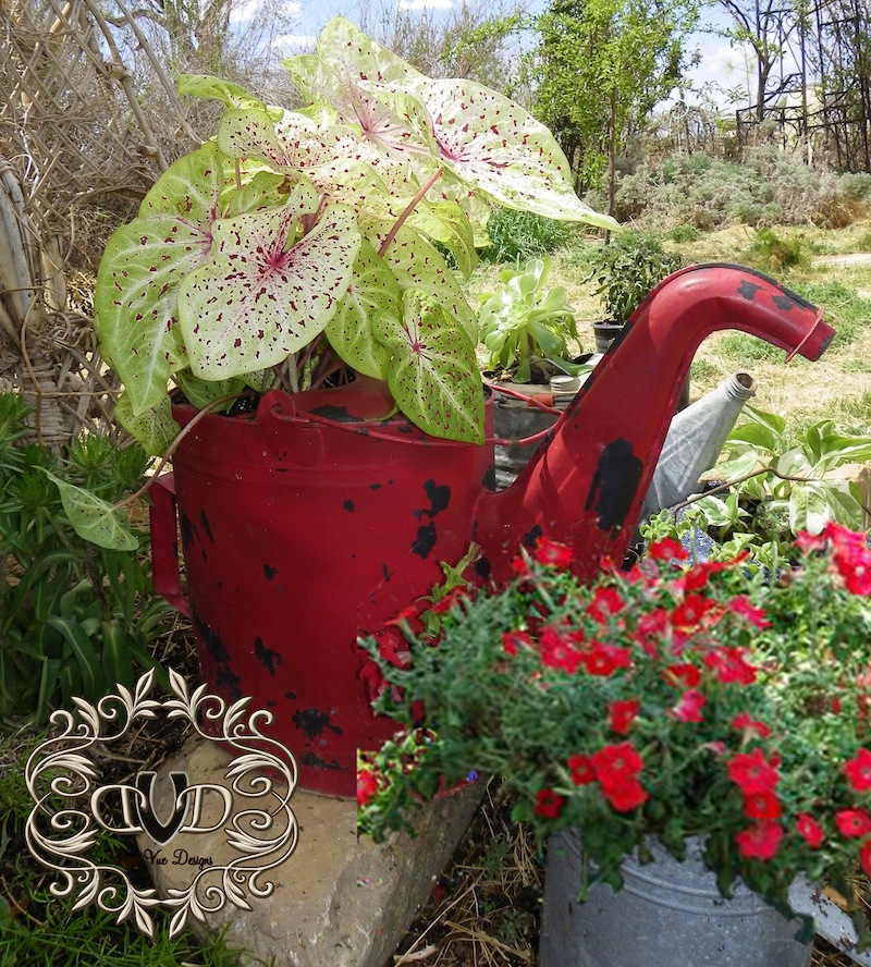 watering cans-decorating with junk