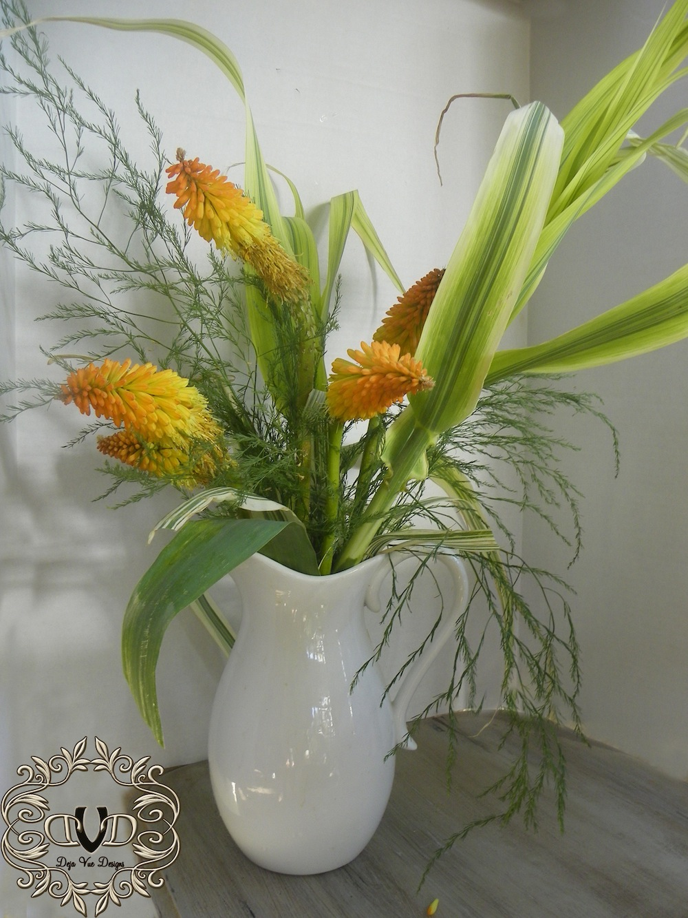 Red Hot Pokers in a pitcher
