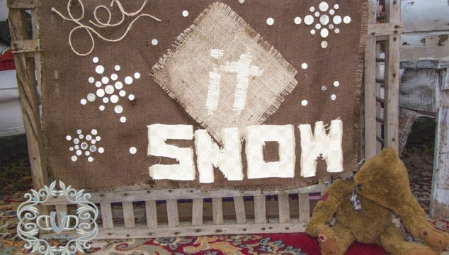 Let It Snow Burlap Flag
