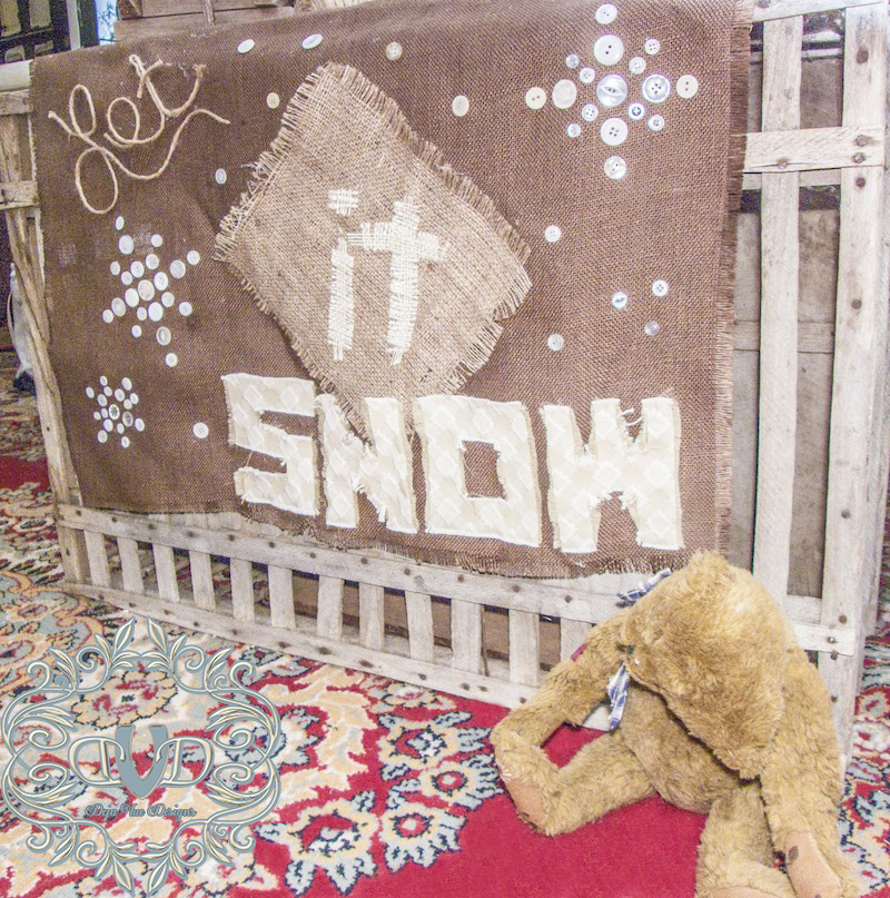Let it Snow Burlap Flag