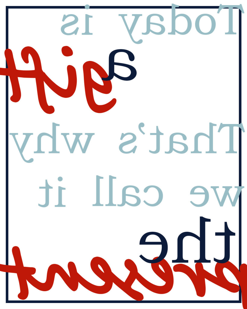 Today is a gift transfer in red printable and transferable
