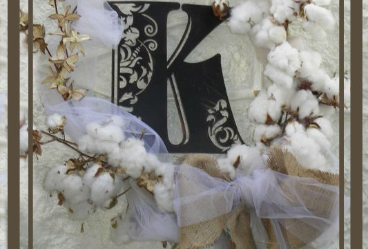 What a Country Girl Does With Cotton and Burlap wreath