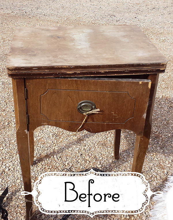 Beachy Zebra sewing table
