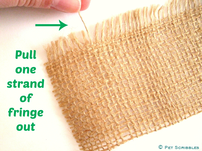 How to cut straight lines in burlap - Step One