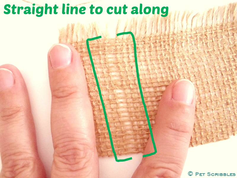 How to cut straight lines in burlap - Step Three