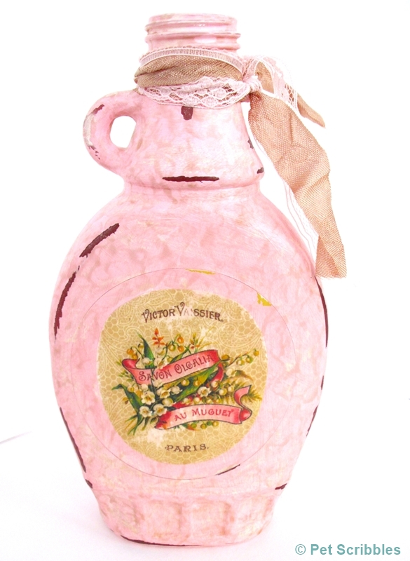Shabby Altered Bottle - back