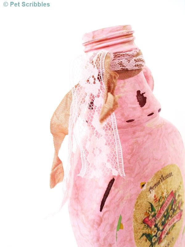 Shabby Altered Bottle - vintage ribbons