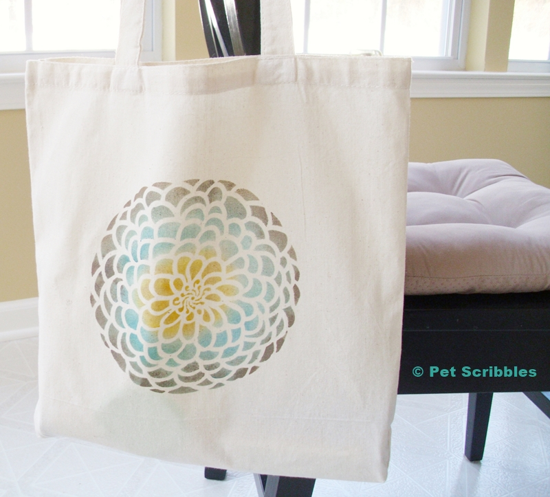 Stenciled Tote Bag Tutorial - finished project