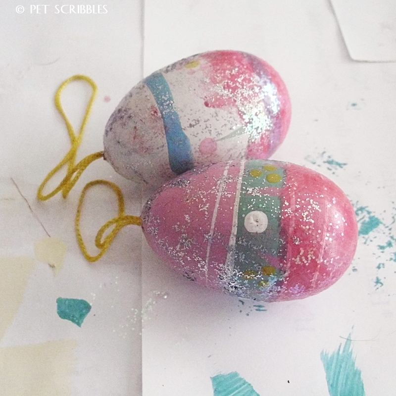 Cover eggs in glitter glue before painting to create some texture.