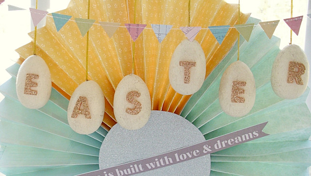Easy Monogrammed Easter Eggs with a paper medallion decoration