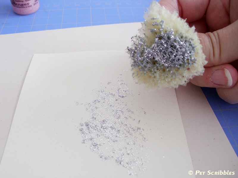 Sponging glitter glue