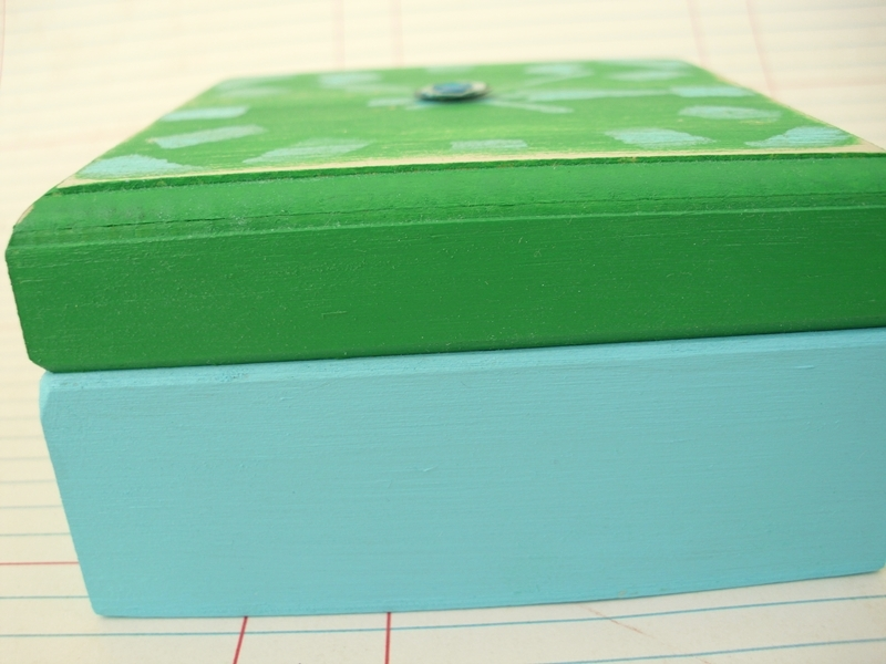 Tiny Painted Wood Craft Box (side view)