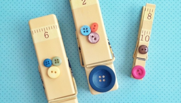 Easy clothespin magnet makeover with paint and buttons!