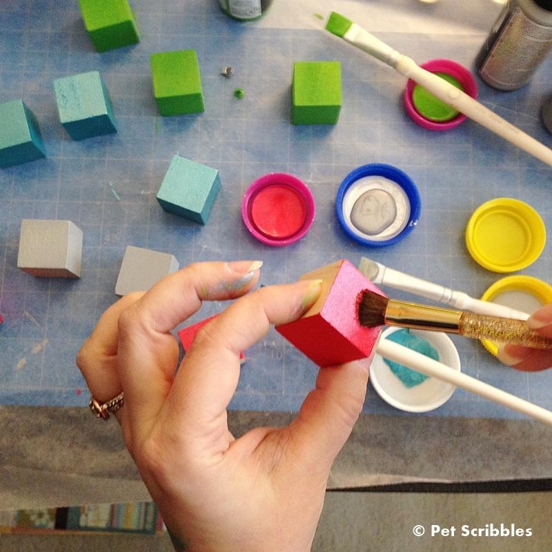 painting wood blocks