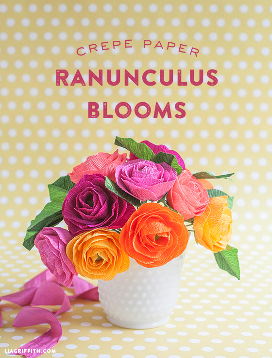 Crepe Paper Ranunculus Flowers Tutorial by Lia Griffith