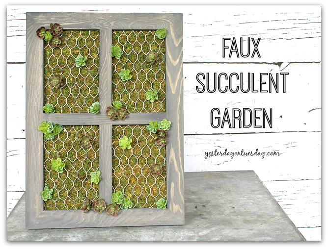 Faux Vertical Succulent Garden DIY by Yesterday on Tuesday