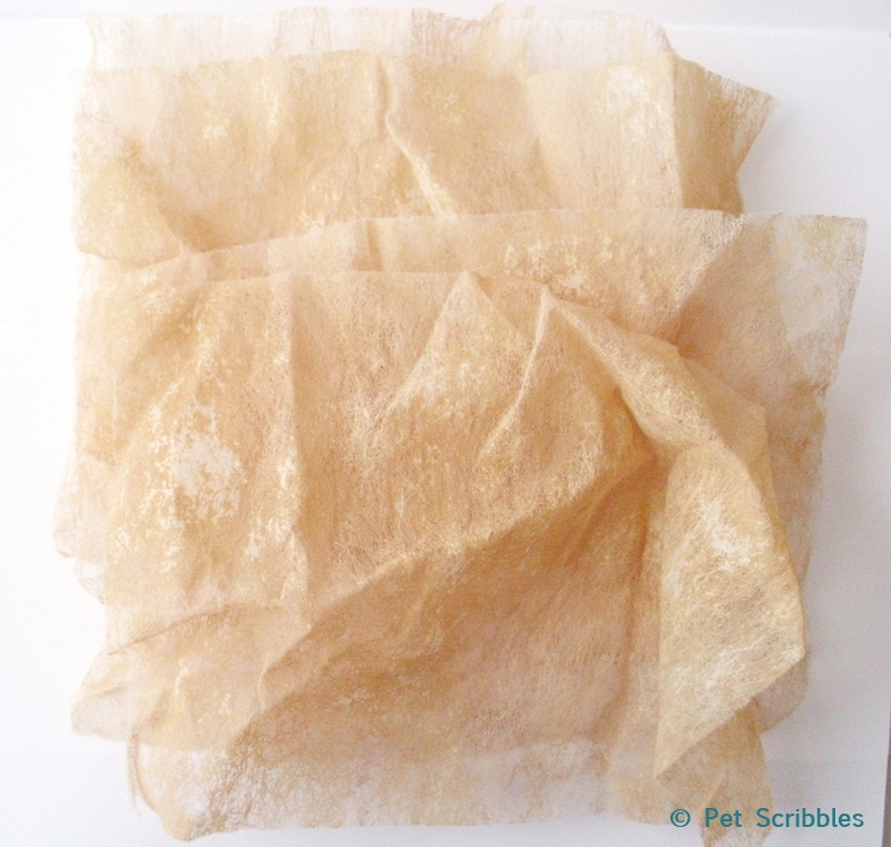 dried tea-stained dryer sheets for making flowers