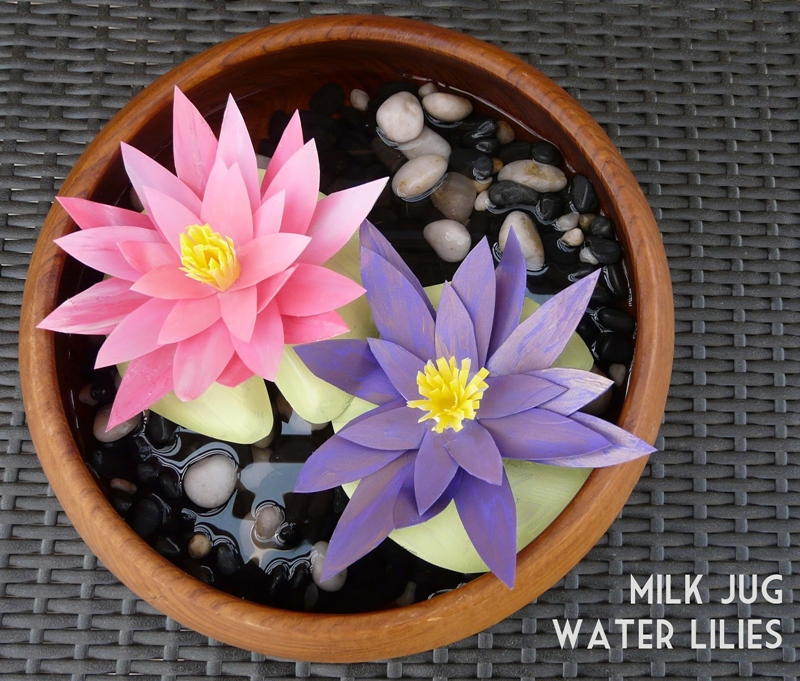 Milk Jug Water Lilies Tutorial by Bliss Bloom Blog