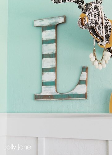 Distressed Striped Wall Letter by LollyJane