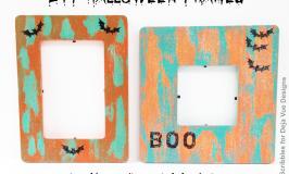 DIY Halloween Frames using peeling paint technique + Sparkle Mod Podge