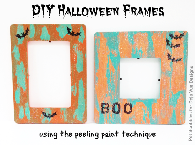 DIY Halloween Frames using peeling paint technique + Sparkle Mod Podge