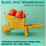 Rustic Mini Wheelbarrow with a painted tin faux finish