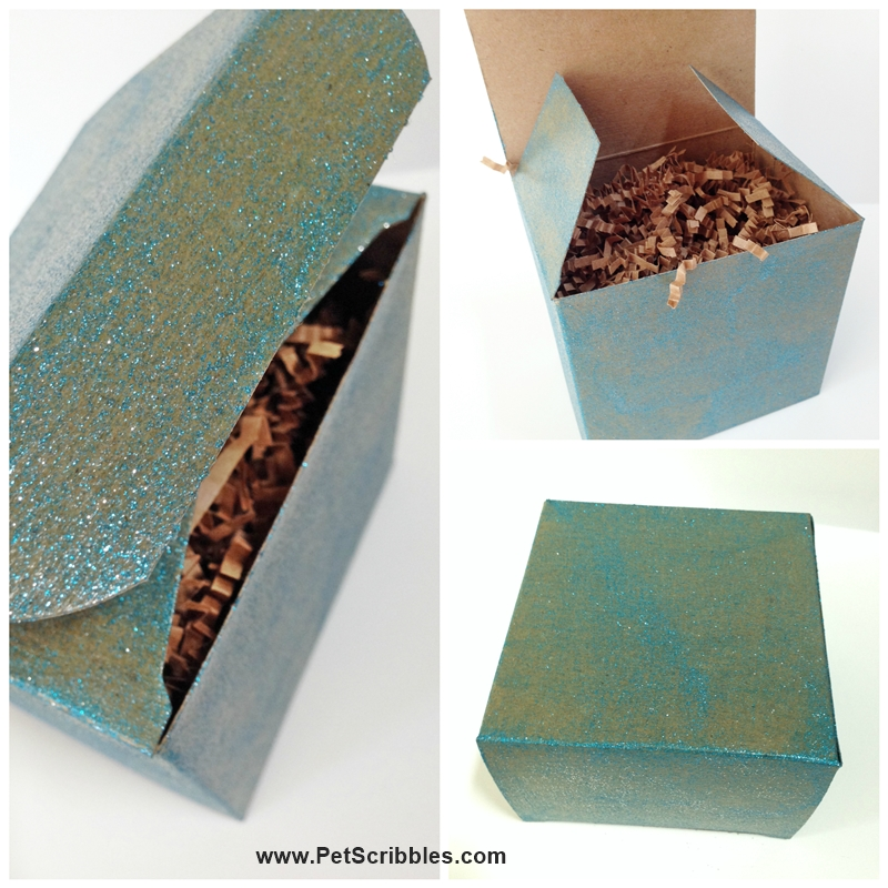 Turquoise Sparkle Glamour Dust glitter paint on box - two coats