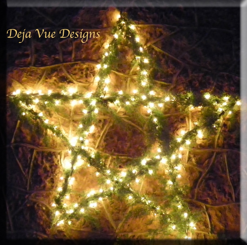 DIY Evergreen Bows Star with Lights
