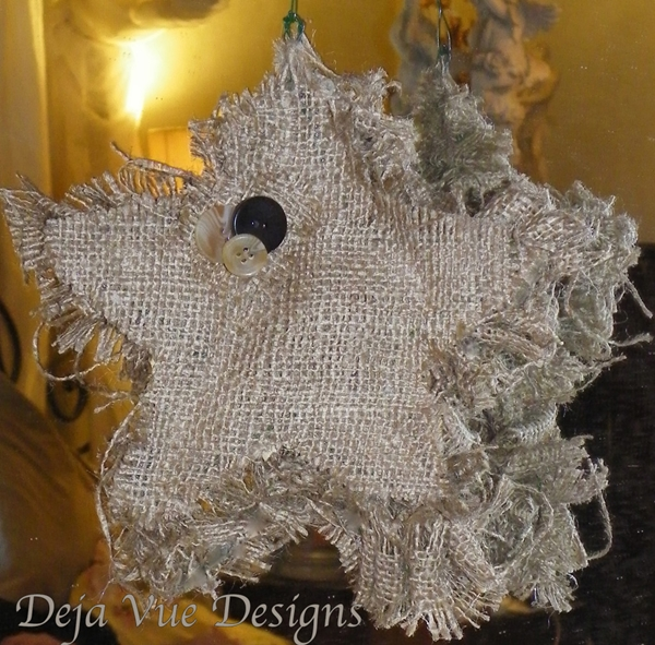 burlap and button star ornament