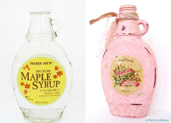Shabby Altered Bottle - before and after