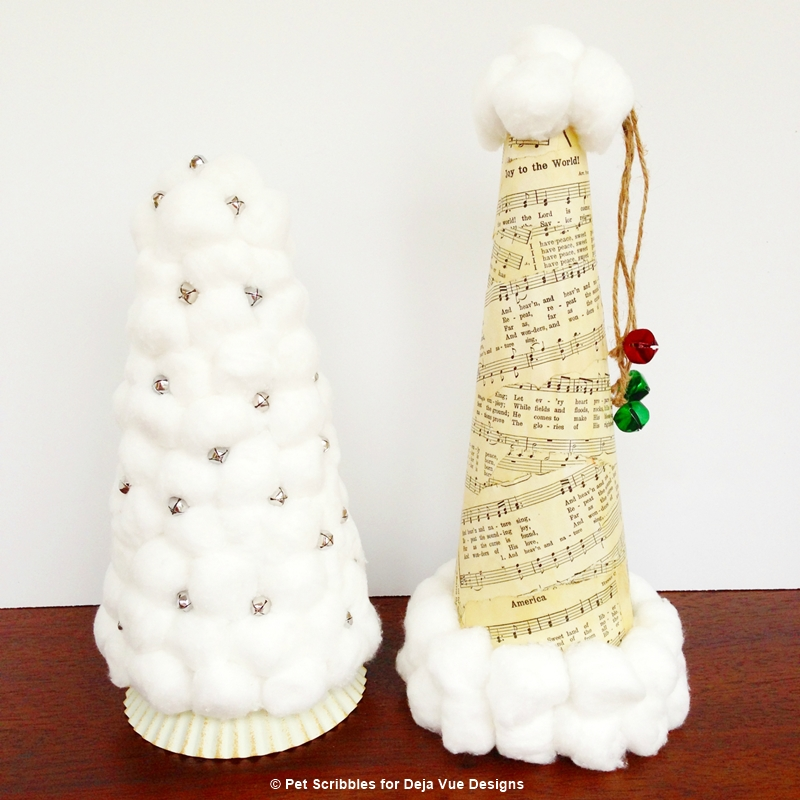 Sheet Music Santa Hat and Cotton Ball Christmas Tree