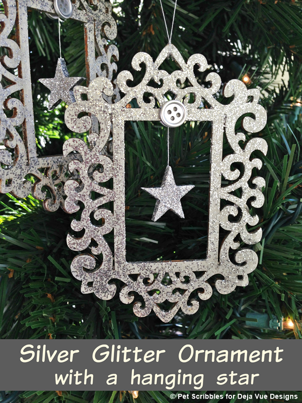DIY Silver Glitter Ornament with a hanging star
