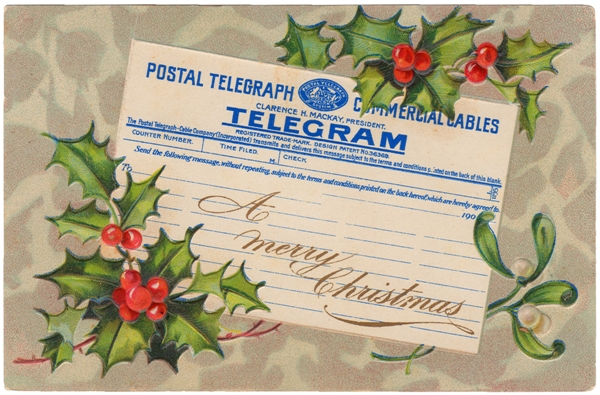 A Merry Christmas Telegram Postcard