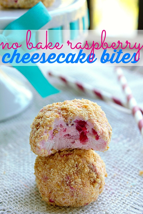 No Bake Raspberry Cheesecake Bites recipe by This Silly Girl's Life