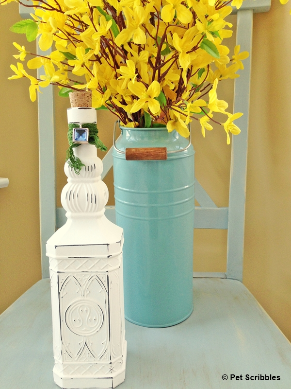 Chalk Painted Shabby Bottle