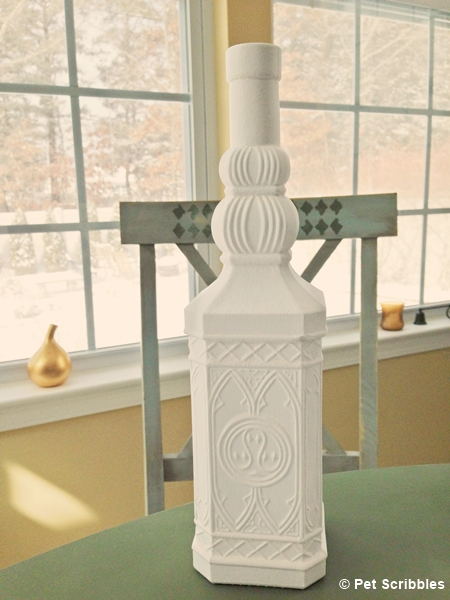 white chalk paint glass bottle