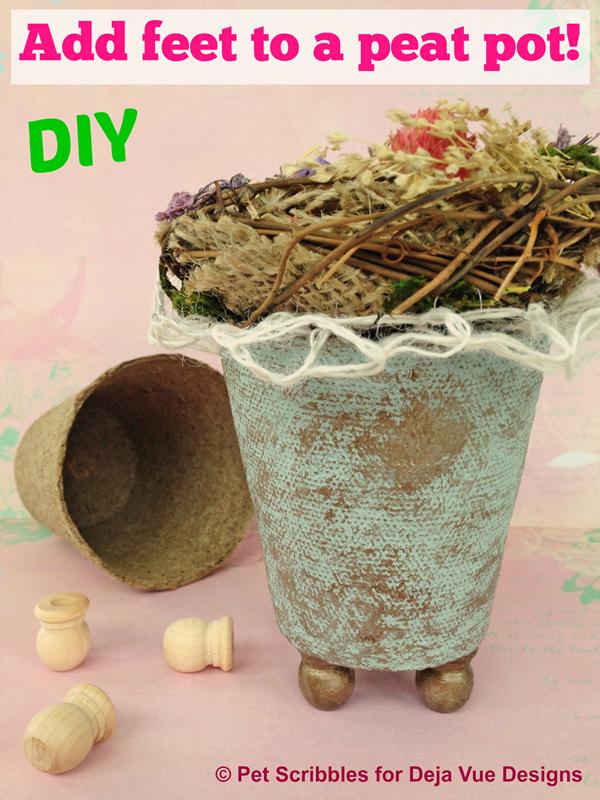 Add feet to a peat pot