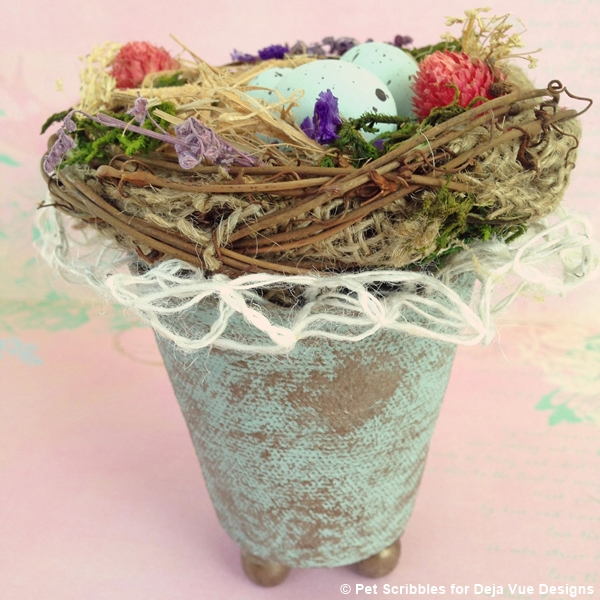 add decorative lace ribbon to bird nest